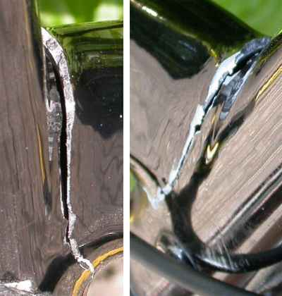 cracked downtube
