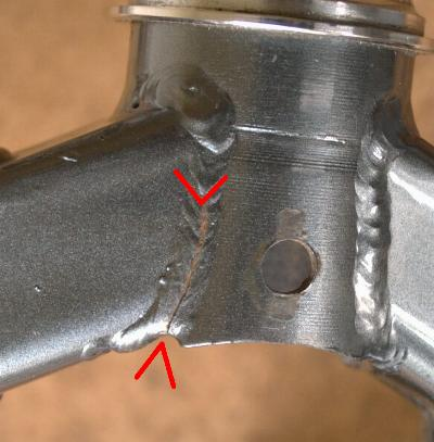 cracked weld in fork